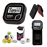 GolfBuddy Voice 2 Golf GPS/Rangefinder Bundle with 1 Magnetic Hat Clip and 5 Ball Markers and Saintnine 2 Ball Sleeve and Belt Clip (Black)