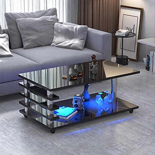 Estink Coffee Table, High-Gloss Multi-Purpose Coffee Table Movable 2-Layer Cocktail Table with 4 Wheels and LED Light for Living Room Hotel Cafe Max Load 50kg 39.4 x 19.7 x 19.7in (Black)