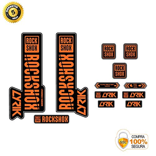 Aufkleber Gabel für Fahrrad Modell Gabel Rock Shox Lyrik 2018 Modell 2 Orange 29