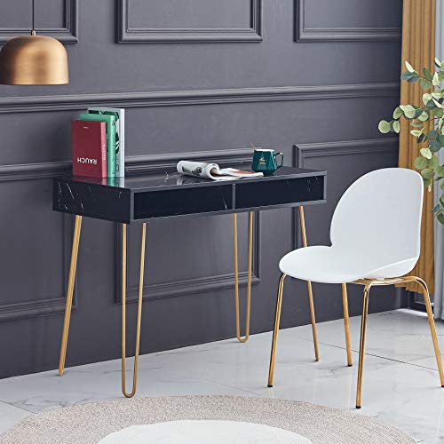 """SSLine Modern Computer Desk with Drawers Elegant Black Faux Marble Writing Table w/Gold Metal Legs Simple PC Laptop Desk Office Workstation for Girls Women - 40"""" L x 21.6"""" H x 31.5"""" H"""