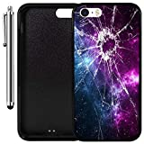 Custom Case Compatible with iPhone SE, iPhone 5S (Cracked Screen Prank) Edge-to-Edge Rubber Black Cover Ultra Slim | Lightweight | Includes Stylus Pen by Innosub