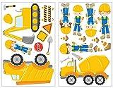 Obras pared adhesivo (23 piezas, con los trabajadores de máquinas excavadora Diseño Construcción para pared para camiones Decoración de Habitación de los Niños/Baby habitaciones para niño/niña/infantil/bebé 2x 16x26cm
