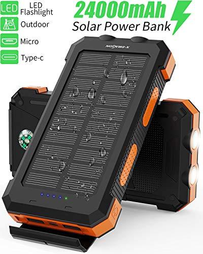 X-DRAGON Solar Power Bank 24000mAh Wasserdichtes Tragbares Solarladegerät mit Zwei Eingängen (USB C & Micro), Doppelter Taschenlampe, Kompass für iPhone iPad Samsung Handys Huawei Outdoor Camping