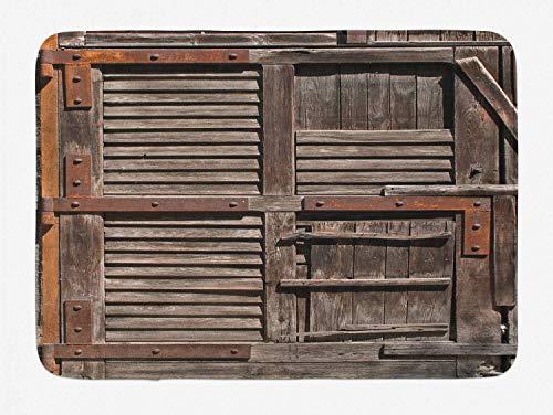 AoLismini Rustikaler Bad-Teppich, Bild des italienischen italienischen Land-Holz geschnitzten Rahmen-Landhausstil-Bilderrahmens, Plüsch-Badezimmer-Dekor-Teppich mit Extra