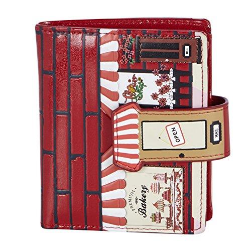 Shagwear portafoglio per giovani donne Small Purse : Diversi colori e design: (pasticceria rosso/Bakery)