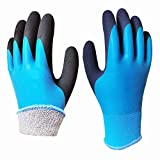 Thermal Cold Weather Superior Grip Waterproof Garden Work Gloves, Double Latex Coated Nylon Comfortable Fit for Gardening Fishing Cleaning Multi-Purpose
