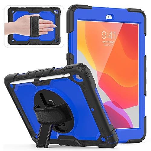 Funda para iPad 10.2 2019 Release Tablet Case para niños a prueba de golpes para iPad 7th10.2 pulgadas, protector de pantalla integrado, resistente funda giratoria 360 con soporte para bolígrafo, correa de mano y correa para el hombro CL-04.
