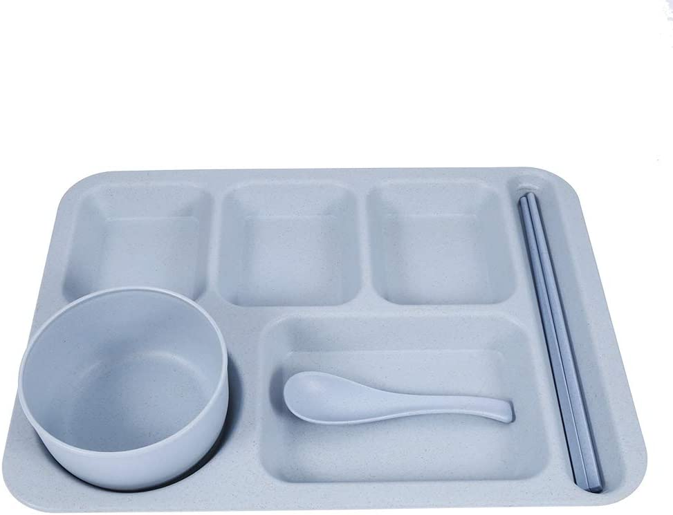 Students Tableware Set Durable 5-Sections Straw store Divided Wheat D Mesa Mall