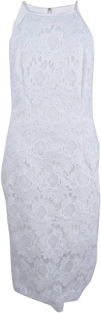 Betsy & Adam Women's Lace Halter Sheath Dress (6, White)