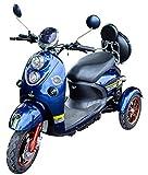 Nuevo scooter eléctrico de movilidad estilo retro de 3 ruedas para minusválidos y personas mayores hasta 25 km/h motor de 800 watt 60V 100AH Azul Green Power
