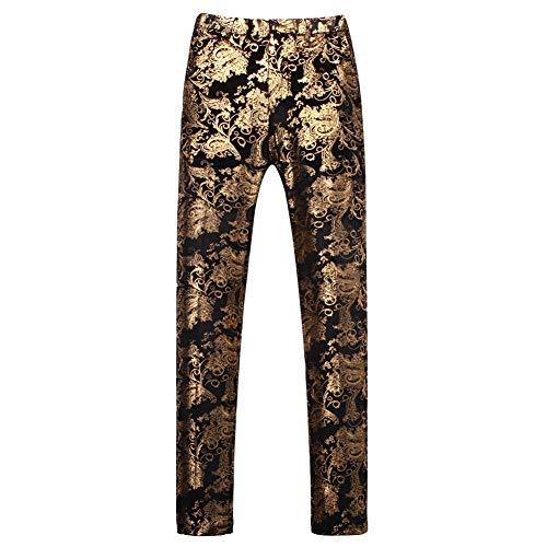 Men's Hot Stamping Floral Slim Fit Suit Pants Casual Flat Front Dress Trousers Golden