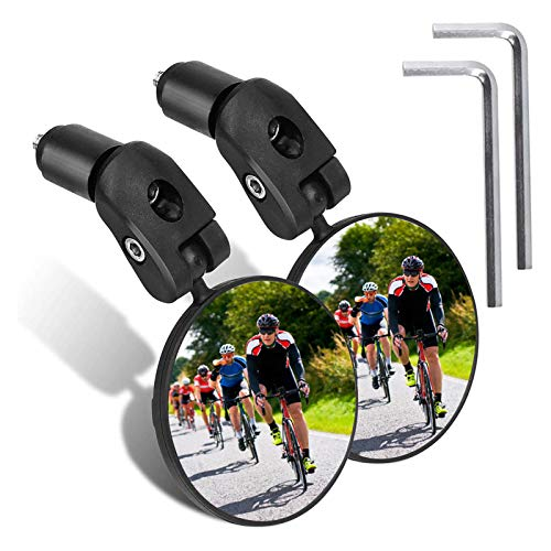 JOLIGAEA 2pcs Espejo Retrovisor de Bicicleta, 360°Grados Giran Ajustable Espejo Retrovisor del Manillar, Plástico Espejo Convexo para Bicicletas de Carretera, Motocicletas, Bicicletas de Montaña