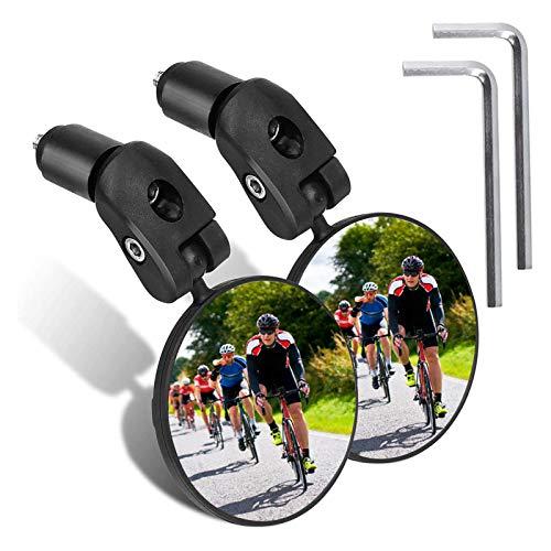 JOLIGAEA 2 Pezzi Specchietti Bici, Specchio Convesso Specchietto Retrovisore per Bicicletta 360 °Regolabile Specchio Rotante per 17,4–22 mm Manubrio di Bicicletta