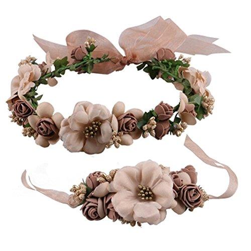Elegante Blumen-Kranz-Armband Haar Crown Hochzeit Kopfschmuck , Kaffee