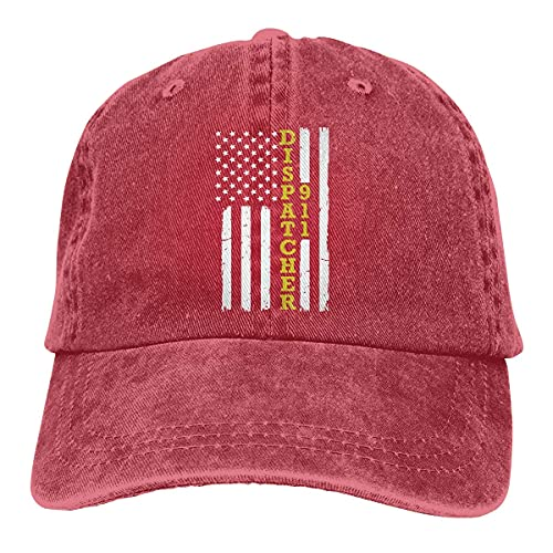 Dyfcnaiehrgrf Gorra de béisbol para hombres y mujeres, 911 Dispatcher delgada línea dorada bandera mujer algodón ajustable Jeans Cap Hat