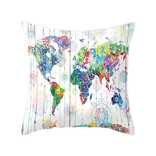 Eotifys Cushion cover Vintage Colorful Map Style Pattern Cushion Cover Peach Skin Pillow Case Home Decor For Car Sofa