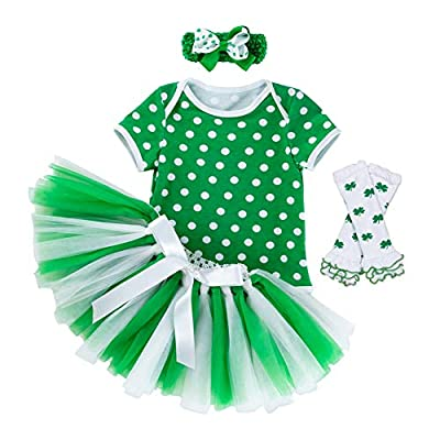Fairy Baby Newborn Girl Polka Dots Bodysuit Tutu Skirt Baby Gift 4PCS St. Patrick's Day Outfit (0-3 Months, Polka Dots Short Sleeve)