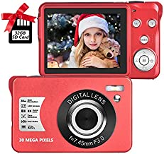 Digital Camera,30MP Compact Camera,2.7 inch Pocket Camera,Rechargeable Small Digital Camera for Kids,Students,School,Children,Photography with 8X Zoom (32GB SD Card Included),Red