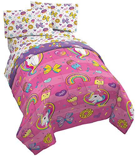 Jay Franco Nickelodeon JoJo Siwa Sprinkles & Ice Cream 5 Piece Queen Bed Set - Includes Reversible Comforter & Sheet Set Bedding - Super Soft Fade Resistant Microfiber (Official Nickelodeon Product)