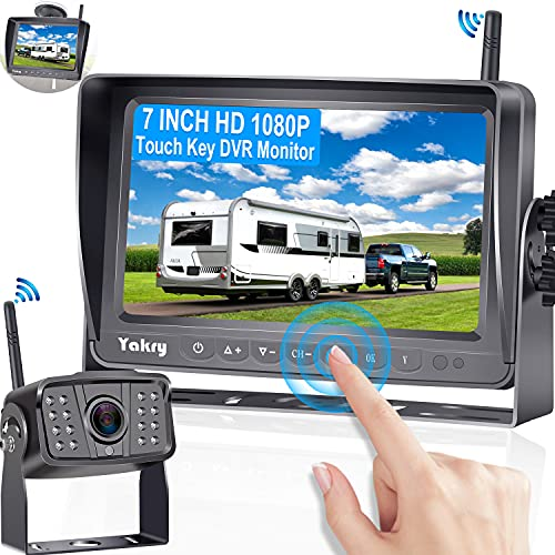 RV Backup Camera Wireless HD 1080P with 7 Inch Touch Key DVR Monitor for RVs,Campers,Trailers,Trucks Adapter For Furrion-Pre-wired RVs High-Speed Rear View Observation IR Night Vision Yakry Y27