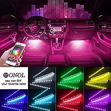 Car Interior Light-OONOL Car LED Strip Lights 4pcs 48 LED Bluetooth APP Control Atmosphere Lights Multicolor Music Under Dash Car Strip Lighting Kit For DIY Car Indoor Party (Car Cigarettet)