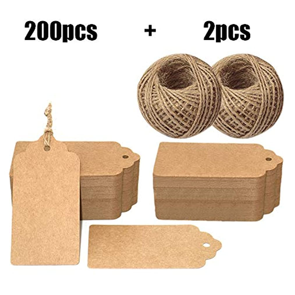 200PCS Paper Gift Tags,4'' X 2'' Price Tags with String Craft Tags Bonbonniere Brown Gift Tags with 60M Twine Perfect for Arts and Crafts, Wedding,Valentine's Day, Christmas Day and Holiday