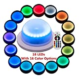 LACGO 16 Color Options Wireless Remote Control LED Furniture Light, 18 LEDs Rechargable Table Light, Garden Corridor Night Light, Perfect for Home, Wedding Decor with Outdoor Indoor Use(Pack of 1)