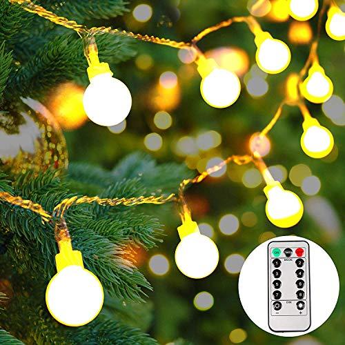 lichterkette außen,100 LEDs lichterkette batterie außen,lichterkette mit batterie für Party, Garten,Hochzeit[10M]