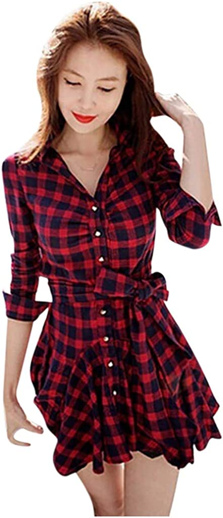 NUWFOR Bodycon Dress Fashion Casual Women V-Neck Long Sleeve Mini Dress Sashes Plaid Slim Dress