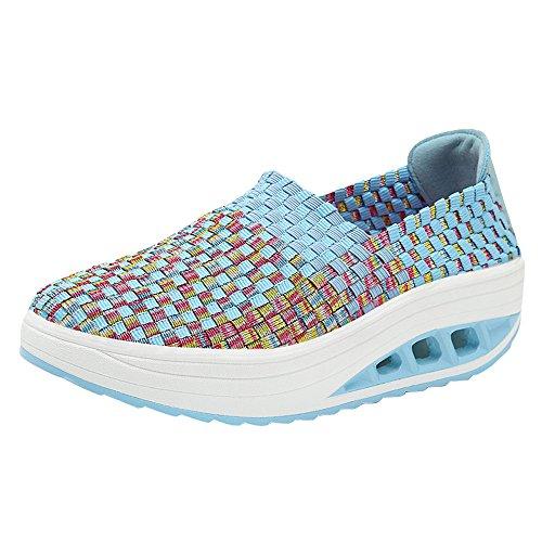 Luckhome Klettverschluß Sandalen Socken Wechselfußbett Damen Schuhe Frauen Arbeiten gesponnene Erschütterungs-Schuh-Freizeit-Keil-Sportschuhe um, die beiläufige Schuhe Laufen Lassen(Blau,EU:37)