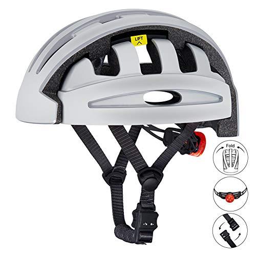 BLLJQ Herren MTB Fahrrad Helm, Zusammen Klappbarer Fahrradhelm, mit LED Warnleuchte, Komfortabel leicht Atmungsaktiv für Fahrrad Rennrad BMX Fahren,Grau