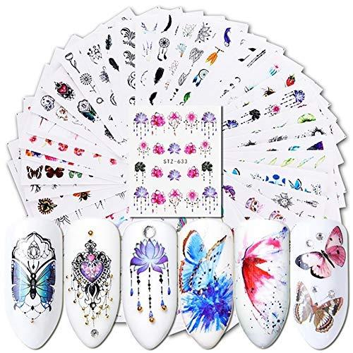 AchidistviQ – Nagelsticker / Nailart, Wassertransfer; Blumen, Schmetterlinge - 40 Stück mehrfarbig