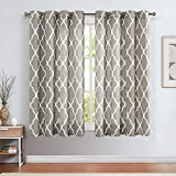 jinchan Curtains Charcoal Gray Linen Living Room Drapes Light Filtering Moroccan Tile Print Window Treatment Bedroom Curtain Flax Textured Geometry Lattice Grommet for Dining Room 50'W x 45'L 2 Panels