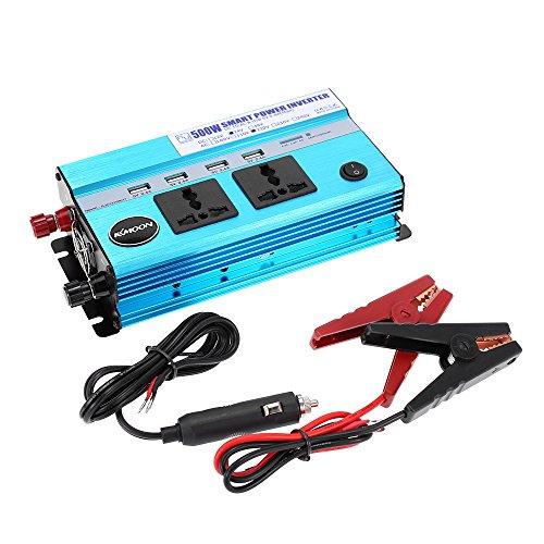KKmoon 500 W auto inverter vermogen DC 24 V AC 220 V 50 Hz met 4 USB-poorten / 2 AC stopcontacten DC 24V a AC 220V 50Hz