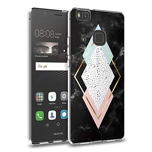 Pnakqil Funda Huawei P9 Lite, Silicona Transparente con Dibujos Diseño Slim Gel TPU Antigolpes Ultrafina de Protector Piel Case Cover Cárcasa Fundas para Movil Huawei P9Lite, Mármol de 4 Caras