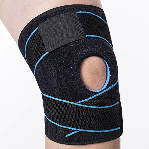 Knee Brace Support with Side Stabilizers & Patella Gel Pads - Adjustable Compression Open Patella Relieves Arthritis,Meniscus Tear,ACL,MCL,Tendonitis Pain for Men and Women (Blue,Pack of 1)