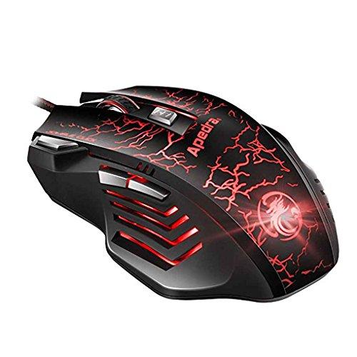 Dark Knight X7 Apedra Wired Optical Gaming Mouse luz de respiraci/ón LED Dazzle 4 ratones DPI ajustables 7 botones programables Gaming Mice para Windows XP// Vista//7//8//10//MAC OS X