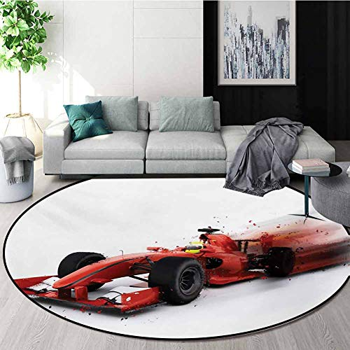 Great Price! RUGSMAT Cars Rug Round Home Decor Area Rugs,Generic Formula 1 Racing Car Illustration w...