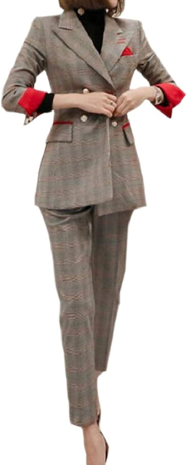 LKCENCA Women's Glen Tenths Pants Blazer Checkered Belted Two Piece Outfits Set