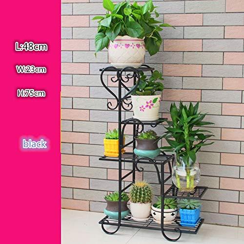 ZY&DD Eisenrahmen Mehrstöckigen Blume Grün Lola Hängende Orchideen Balkon Ausgefallene Multi-Fleisch-Wohnzimmer Indoor Boden Blumentopf Rack b 48x23x75cm(19x9x30inch)