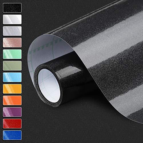 Cahomo Selbstklebende Küchenfolie Schwarz 61 * 550cm Klebefolie Möbelfolie Hochwertigem PVC Tapeten Modern Dekorfolie wasserfest Aufkleber MIT Glitzer für Wände Möbel Küche Schränke