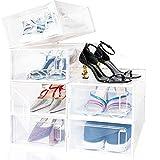 amzdeal 6er Schuhbox Set - 33×23×14 cm transparente Schuhkarton, Schuhaufbewahrung mit Frontöffnung und Entlüftung, Faltbar & Platzsparend & Stapelbar & Wasserdicht als Multifunktional Aufbewahrung