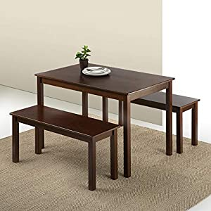 Espresso finished pine wood for classic charm Dimensions: Benches: 39.3 Inches x 14 Inches x 18 Inches | Table 45 Inches x 28 Inches x 29 Inches Easily assembled in minutes Two benches and table, comes as 3 piece set Worry free 1 year warranty