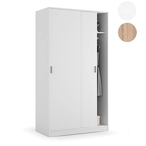Habitdesign MAX019O - Armario Dos Puertas correderas, Color Blanco Mate, Medidas: 100x200x50 cm