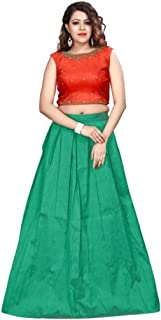 Indian Handicrafts Export Solid Stitched Lehenga, Choli and Dupatta Set (Red, Green)