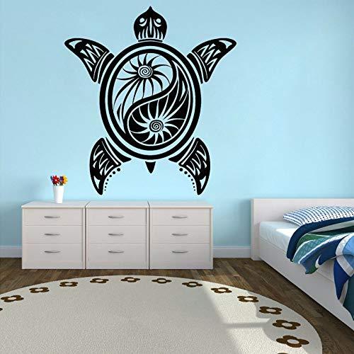 Calcomanía de vinilo de tortuga para pared,pegatina budista Yin Yang, de estudio de Yoga,decoración del hogar extraíble,pegatina decorativa para dormitorio,A7 57x62cm