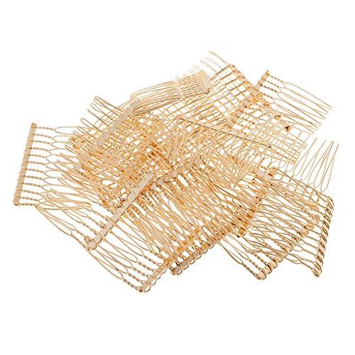 IPOTCH 20 Stück DIY Leere Metall Haar Accessoires Haarkamm Einsteckkamm Seitenkamm Haarspange Haar Stecker für Hochsteckfrisuren Braut Hochzeit - Gold
