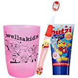 wellsamed wellsakids Zahnpflegeset 3-teilig für Kinder Set MÄDCHEN rosa