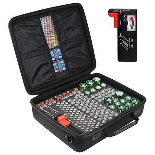 Khanka Custodia per batterie rigide Scatola di immagazzinaggio Porta-borse 179 Batterie AA AAA C D 9V - Adatto al tester digitale per batterie D-FantiX BT-168D. (Vieni con tester batteria)