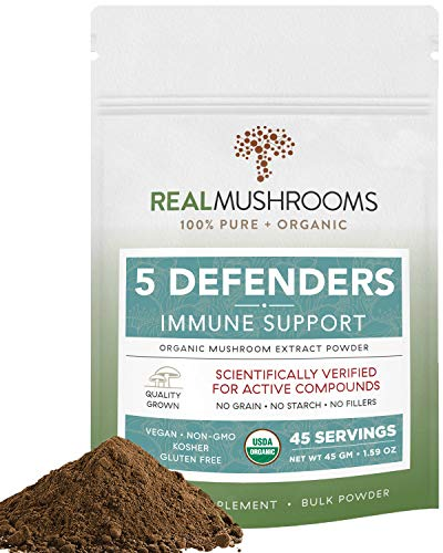 5 Defenders Organic Mushroom Extract Blend for Immune Support & Digestion, 45g Vegan Chaga, Reishi, Shiitake, Maitake & Turkey Tail Powder for Stress & Better Mood, Verified Levels of Beta-Glucans